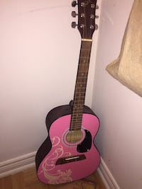 Pink wooden, mid condition, acoustic guitar
