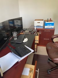 Real Wood Office Desk and Filing Cabinet- Cherry Hardwood