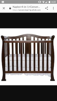 Convertible solid wood crib with mattress