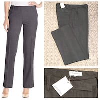 New! Women's Calvin Klein pant paid $85 size 12 Straight-fit dress pant featuring French fly, belt-loop waistband, and jetted back pockets with button closures. 63% Polyester/33% Rayon/4% Spandex