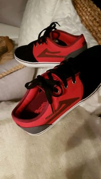 Red and black suede kickers size 8