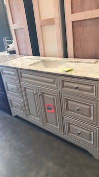 """60"""" Manchester Merlot Bathroom Vanity with River White Granite Top and Single Undermount Sink (6Drawers) Phoenix, 85009"""