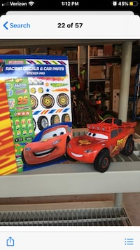 Disney lighting McQueen talking Car and design your own stickers book