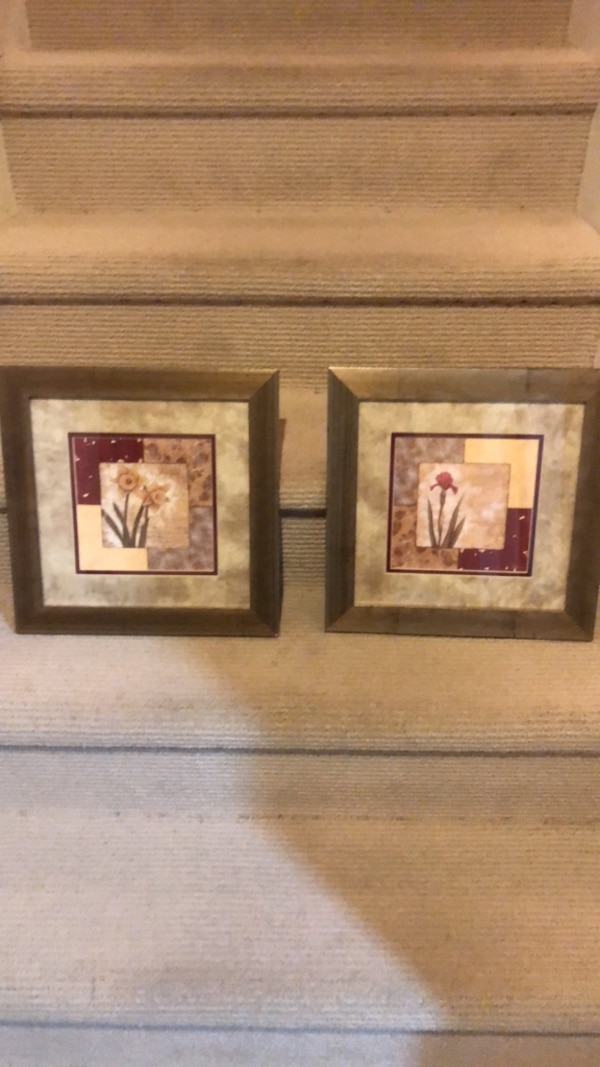 two brown wooden framed painting of flowers a4c07e1f-2674-4bd8-83ad-386ddcb9e475