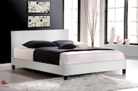 King Size White Leather Platform Bed with Mattress TORONTO