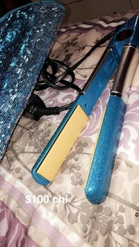blue and yellow hair flat iron
