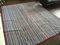 Blue white and red stripes textile