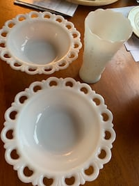 Milk glass bowls and vase