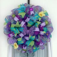green and purple mesh wreath Corpus Christi, 78413