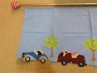 Pottery Barn extendable curtain rod, finials and children's cars valance