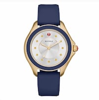 Michele Watch Cape Collection Navy Silicone Strap