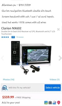 Clarion navigation bluetooth double din radio