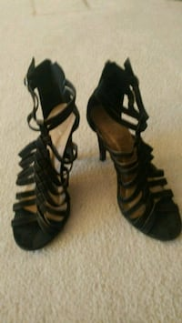 pair of black faux suede open-toe heeled sandals Calgary, T3H 1V8