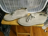 pair of gray suede shoes
