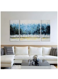Tree Wall Art Set Hand-Painted 'Mysterious Forest' 3-Piece Large Modern Blue Gallery-Wrapped Framed Oil Painting on Canvas for Living Room Decor (20x20inchesx1 Piece, 10x20inchesx2 Piece) New with box and never used. Garden City