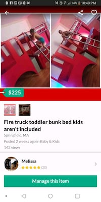 Fire truck toodler bunk bed Chicopee, 01020