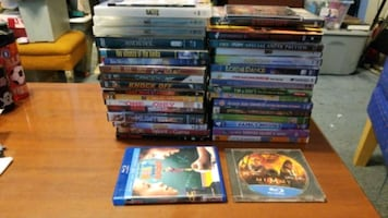 DVDs, bluray disc , and vhs tapes