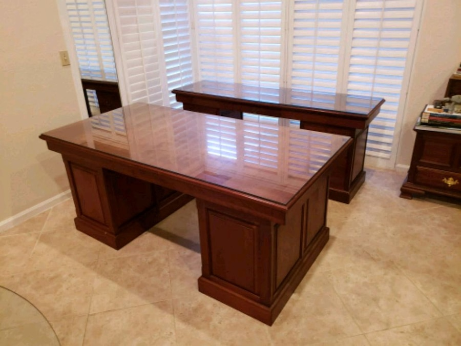 Solid Cherry Desk And Hutch With GlassTops