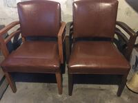 2 Brown leather side, arm chairs Garfield, 07026