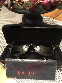 black frame Ralph Lauren sunglasses with clamshell case 1303 km
