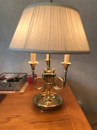 Baldwin brass French Bouillotte triple horn trumpet desk lamp with shade Downingtown, 19335