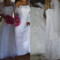 White Wedding dress spaghetti straps with sequences and shawl size sma