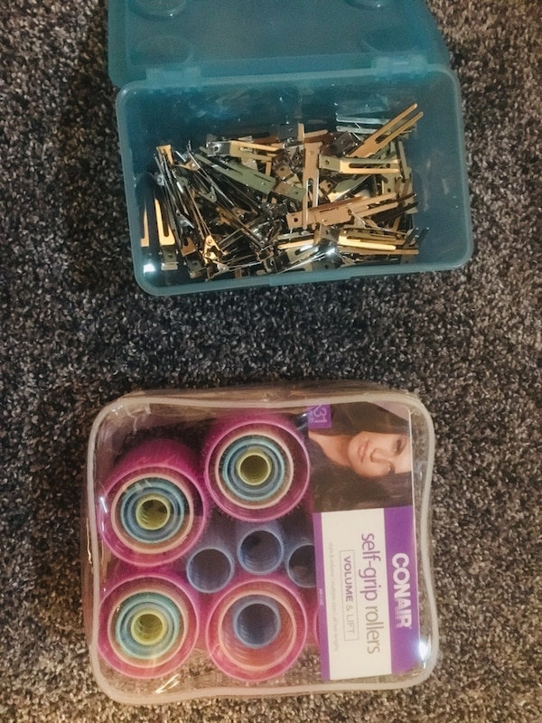 Velcro rollers and metal hair clips