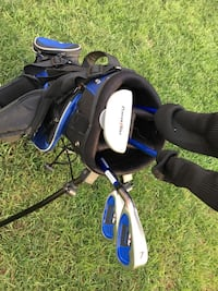 black, gray and blue golf club bag kids