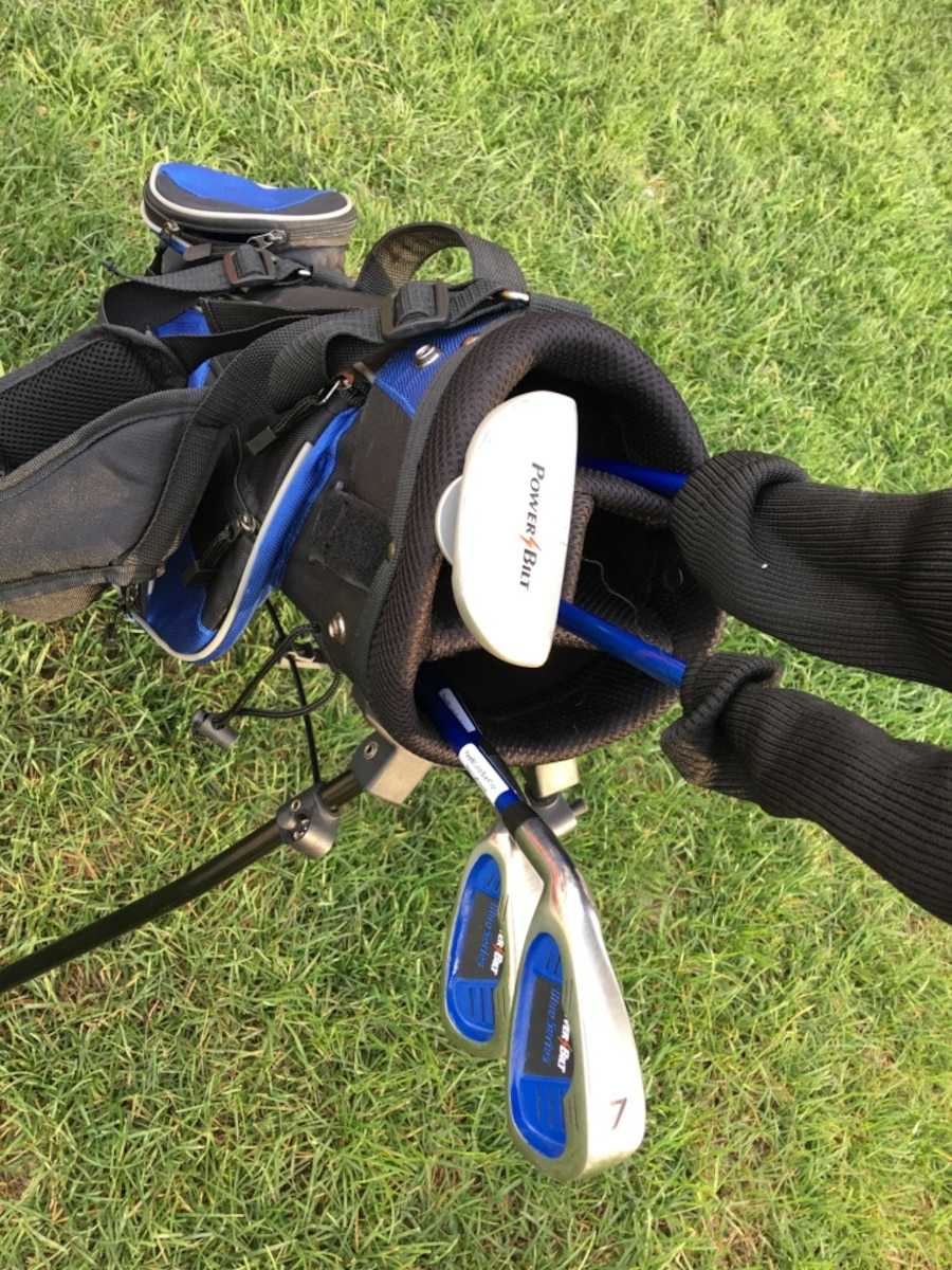 black, gray and blue golf club bag kids  - Orillia