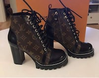 brown-and-black Louis Vuitton chunky heel boots with box Brossard, J4Z 3C2