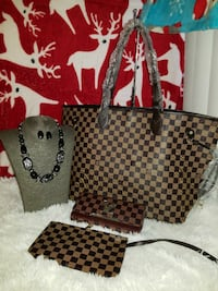 Louis Vuitton Damier Ebene tote bag with wristlet and long wallet set