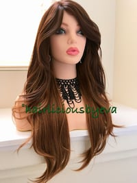 24 inch long wavy layered heat resistant low medium heat balayage wig golden brown 100 percent high temperature synthetic fiber  Las Vegas, 89144