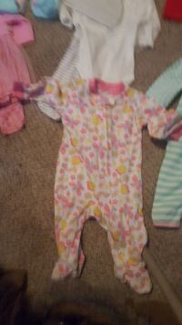 baby's white, pink, and yellow footie pajama Charlotte, 28209