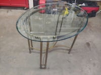 Vintage Hollywood Recency Brass and Beveled Oval Glass Top Side Table Beaverton, 97007