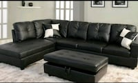 black leather sectional sofa with ottoman Garland