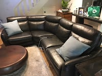 Black leather sectional power recliner sofa  Mountain View