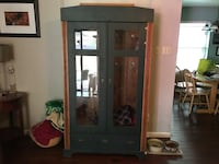 Brown wooden framed glass display cabinet DIY project