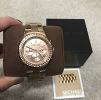 Michael Kors chronograph round silver watch with link bracelet