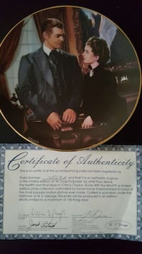 man and woman in suit painted decorative plate with certificate of autheticity Lovettsville, 20180