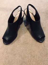 Black leather open toes shoes . Size 9