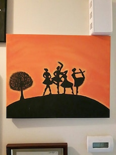 ballet dancer with tree painting