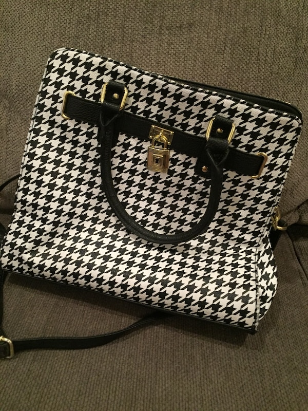 033c6debd33 Used white and black houndstooth leather two way handbag for sale ...