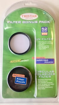 NEW 52 mm circular polarizer and uv