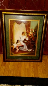 woman in white dress painting with brown wooden frame Wood Dale, 60191