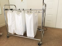 white and black clothes rack