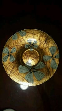 round brown and white floral ceramic plate Jackson, 08527