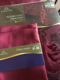 60x102 Flocked Satin Tablecloth and 4 Satin Napkins for $16.50 Frederica, 19962