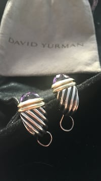 David yurman classic Cable shrimp sterling silver 14k yellow gold amethyst earrings Boston