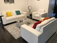 White faux leather couches Ajax, L1T 0G7