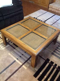 rectangular brown wooden framed glass top coffee table Ashburn, 20147